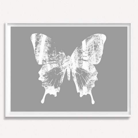 Butterfly with Forest Wings 2 - Gray
