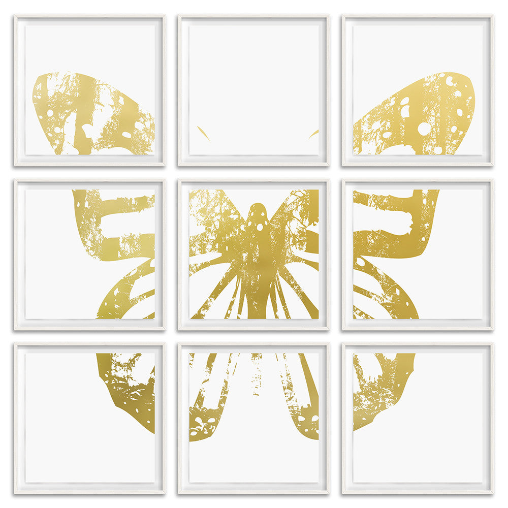 Butterfly with Forest Wings - Grouping 2 Gold on White