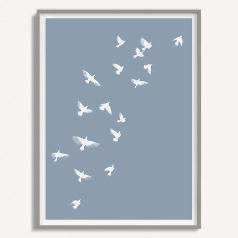 Smokey Bird 1 - Dusty Blue - Large