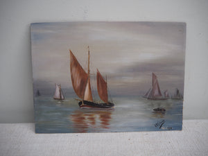 Small signed and dated Acrylic Oil On Board - Sea Scape