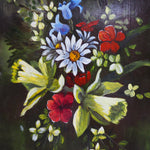 Load image into Gallery viewer, Lovely Dark Signed Floral Oil on Board in Gold Frame