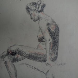 Antique Nude Pencil Drawing