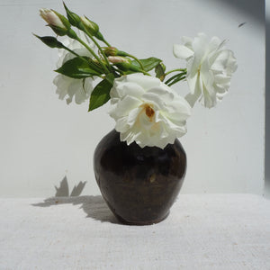 Small Decorative Black Glazed Bud Vase