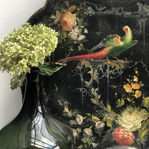 Over-sized 19th Century Papier Mache Tray - Parrots