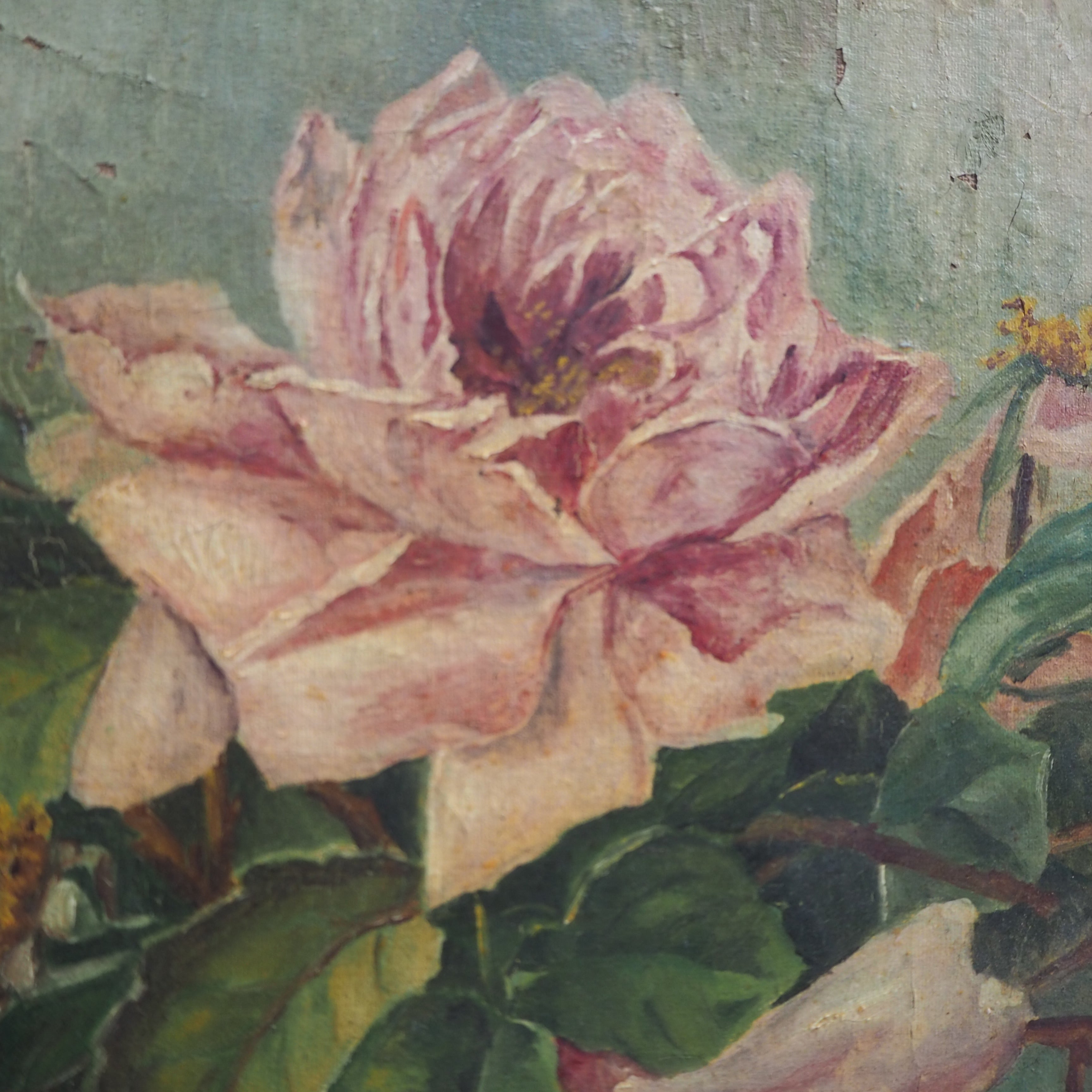 French Floral Oil on Canvas signed and dated 1900