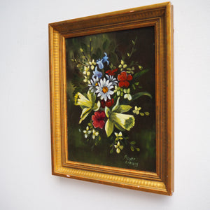 Lovely Dark Signed Floral Oil on Board in Gold Frame