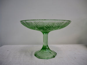 Large Green Glass Cake Stand/Fruit Bowl