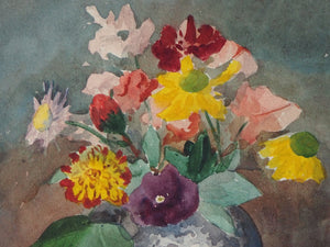 Small Signed Floral Vintage Watercolour