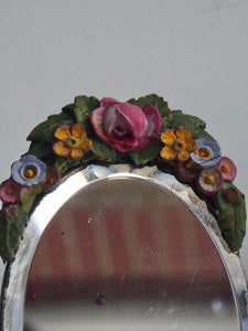 Small Antique Barbola Table Top Mirror with Flowers
