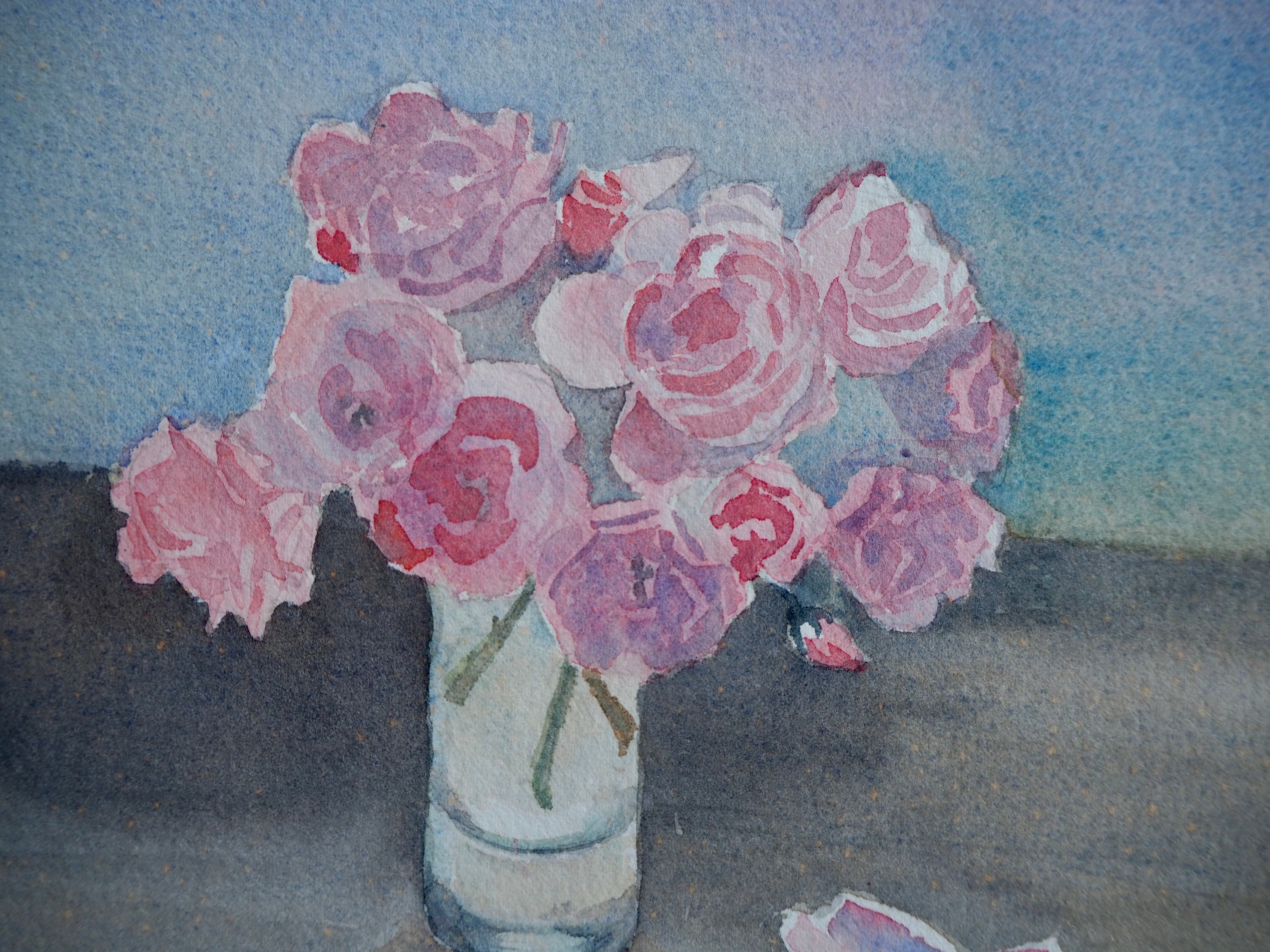 Pink floral watercolour on card