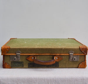 Mid-Century Vintage Suitcase. Green with Leather trim