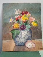 Load image into Gallery viewer, Small Signed Floral Vintage Watercolour