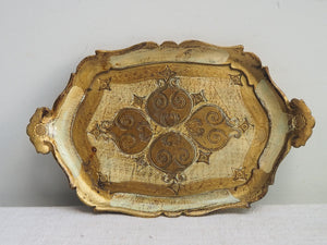 Small Gold and White Florentine Tray