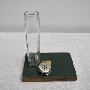Tall Vintage Glass Bottle with Perforated Lid