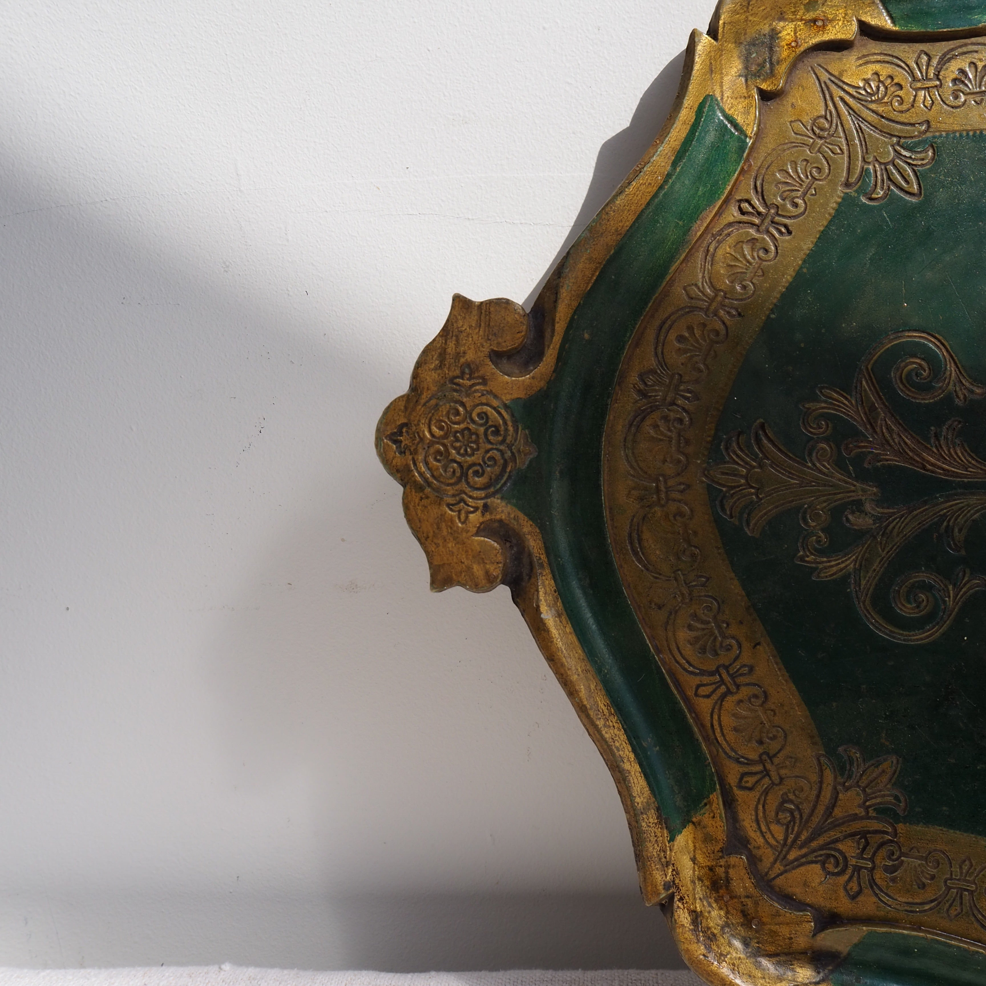 Large Green and Gold Florentine Tray