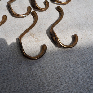 Set of Six Vintage Brass Coat Hooks
