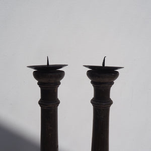 Pair of Rustic Wooden Candlesticks