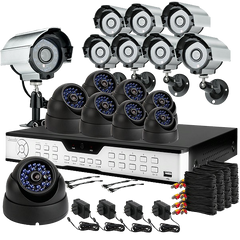 16CH Commercial Surveillance Camera System 8 Bullet+8 Dome Sony