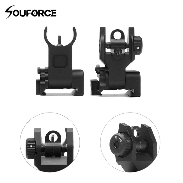 US Stock Flip Up Front Rear Iron Sight Set Dual Half Moon Shape BUIS Sights for 20mm Mount of Hunting Gun Rifle Airsoft