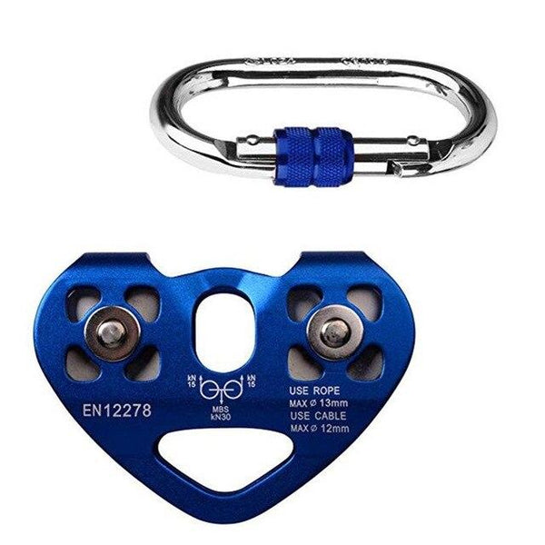 30KN Zip Line Trolley Climbing Buckle Pulley Roller Gear On For Outdoor Sports Rock Climbing Carabiner Rescue Cable Trolley - HuntPost Marketplace