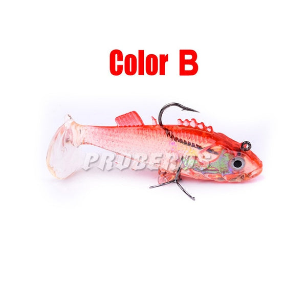 3D Eyes Lead Fishing Lures With T Tail Soft Fish Single Hook Baits artificial bait jig wobblers rubber 7.6cm 15.7g Swimbait lure