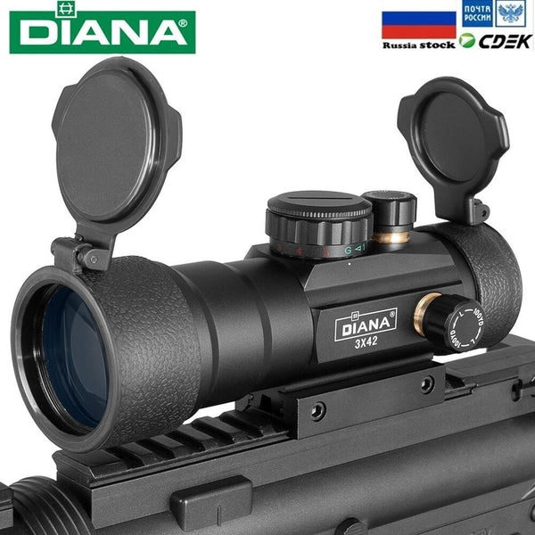 DIANA 3X42 Green Red Dot Sight Scope 2X40 Red Dot 3X44 Tactical Optics Riflescope Fit 11/20mm Rail 1X40 Rifle Sight for Hunting - HuntPost Marketplace