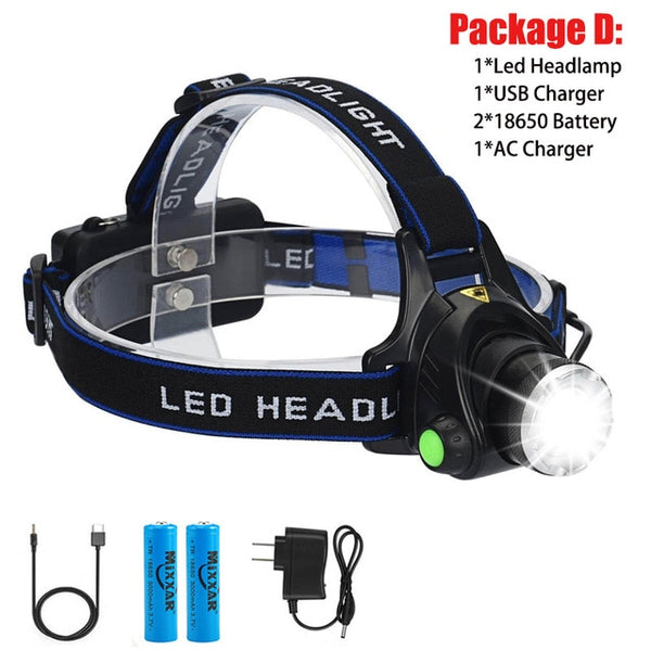 EZK20 Dropshipping LED Headlamp High Power Zoomable Hunting Camping Running Fishing Rechargeable T6 Chip Headlight