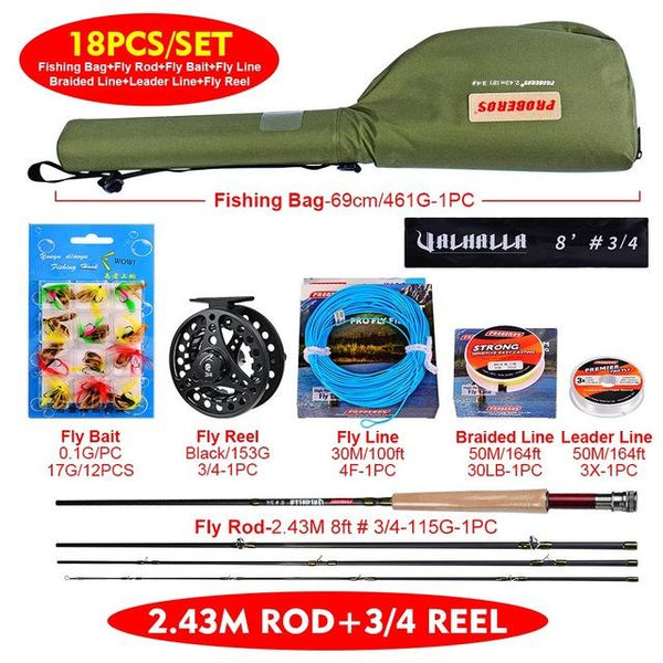 1set Fly Reel + New Fishing Equipped Fishing Rod Fishing Tackle Combo Full Kit + Fishing Line Set With Soft Lure Set With Bag - HuntPost Marketplace