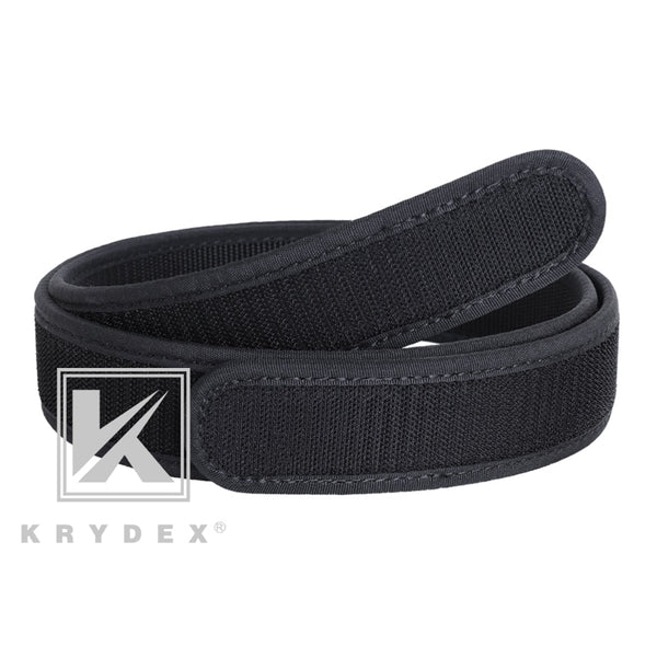 "KRYDEX 1.5"" Buckleless Hook Duty Inner Belt Loopback Hook Tactics Hunting Shooting Nylon Liner Inner Belt Accessories Bk M-XXL"