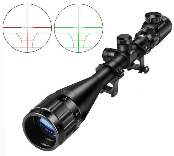 6-24X50 AOE Hunting Riflescope Adjustable RED and Green Light Tactical Scope Reticle Optical Rifle Scope Free Mount - HuntPost Marketplace
