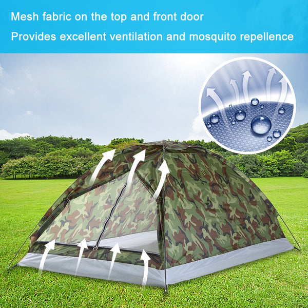 TOMSHOO 2 Persons Waterproof  Camping Tent PU1000mm Polyester Fabric Single Layer Tent for Outdoor Travel Hiking 200*130*110cm