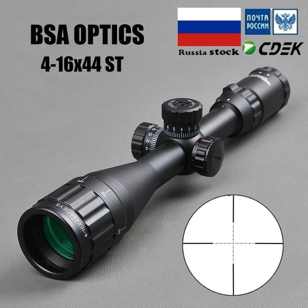 BSA OPTICS 4-16x44 ST Tactical Optic Sight Green Red Illuminated Riflescope Hunting Rifle Scope Sniper Airsoft Air Guns - HuntPost Marketplace