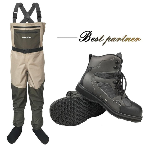 Fishing Clothes Waders Fly Fishing Clothing Outdoor Hunting Waterproof Pants and Rubber Sole Shoes Set Wading Suits Boots DXR1 - HuntPost Marketplace