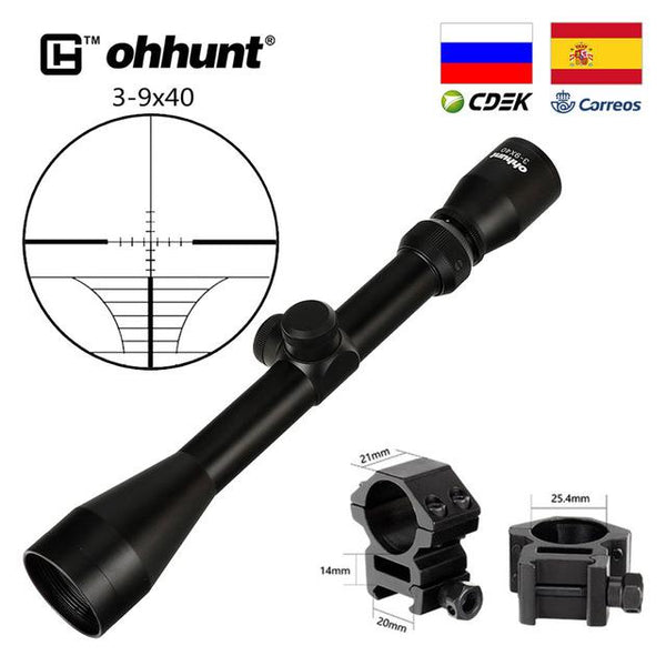 Tactical ohhunt 3-9X40 Optics Riflescopes Rangefinder or Mil Dot Reticle Crossbow Airguns Hunting Rifle Scope with Mount Rings - HuntPost Marketplace