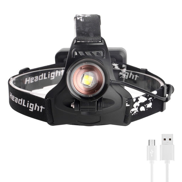 BORUiT 2806 XPH70.2 LED Headlamp Zoom 3-Mode Headlight USB Rechargeable Power Bank Head Torch Hunting Flashlight 18650 Battery