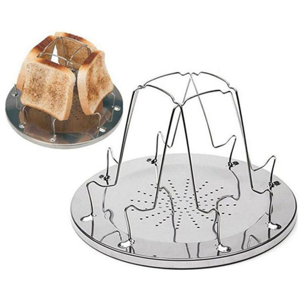 4 Slice Camping Bread Toast Tray Stainless Steel Folding Toaster Bread Toast Toaster Rack