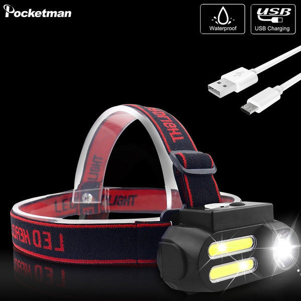 Most Bright LED Headlamp T6+COB LED Headlight Head Lamp Waterproof Torch Lanterna head light Use 18650 battery for Camping