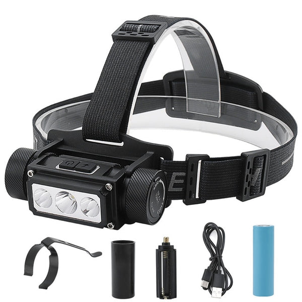 BORUiT B50 LED Headlamp XM-L2+4*XP-G2 Max.6000LM Headlight 21700/18650 TYPE-C Rechargeable Head Torch Camping Hunting Flashlight