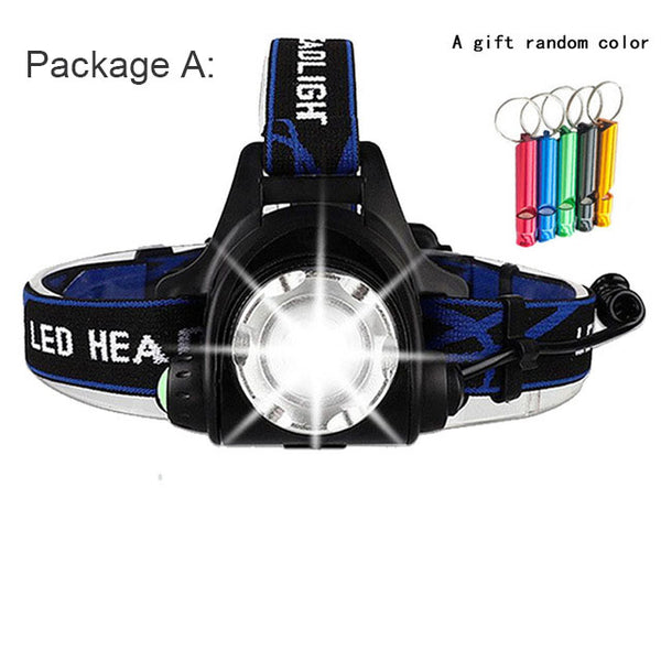 LED Headlamp High Lumens Zoomable dropshipping Headlight Waterproof Head Torch flashlight Head Lamp Fishing Hunting Camping Lamp
