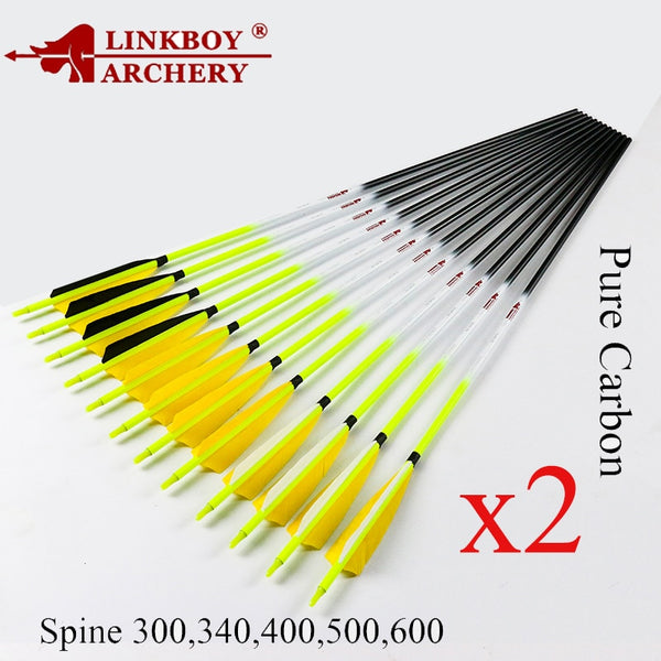 24pcs Linkboy Archery Carbon Arrows ID6.2mm Spine300-600 5inch Feather Arrow Accessory Compound Recurve Traditional Bow Hunting