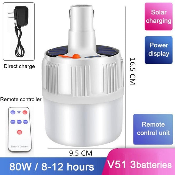 Outdoor Rechargeable Remote control LED Bulb Lamp Solar Charge Portable Emergency Night Market Light Outdoor Camping Fishing 9