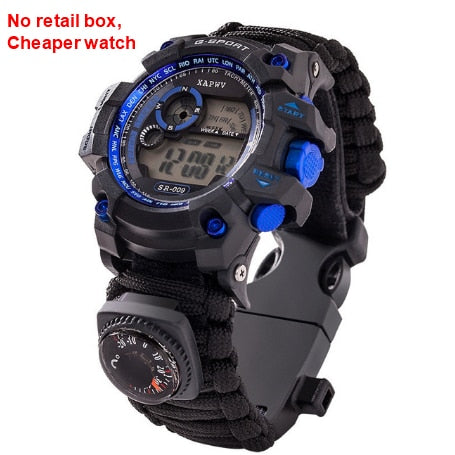 New Outdoor Survival Watch Bracelet Multi-functional Waterproof 50M Watch For Men Women Camping Hiking Military Tactical Camping