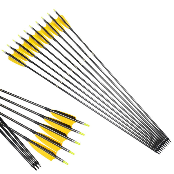 12pcs Linkboy Archery Arrows Carbon ID6.2mm Spine300-600 4inch Turkey Feather for Compound Bow Hunting - HuntPost Marketplace