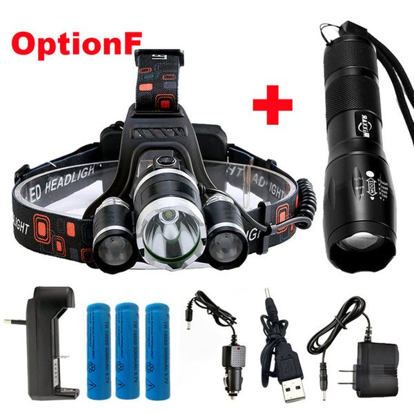 ZK20 Droshipping Headlamp Ultra Bright Waterproof 4 Modes Headlight T6 LED Flashlight 18650 Rechargeable Battery Hunting Fishing