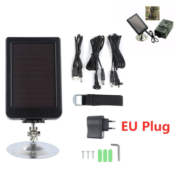 Outdoor Solar Panel Charger EU Plug Hunting Trail Camera Charger For Suntek HC-300M HC300 HC-500m Hunting Camera