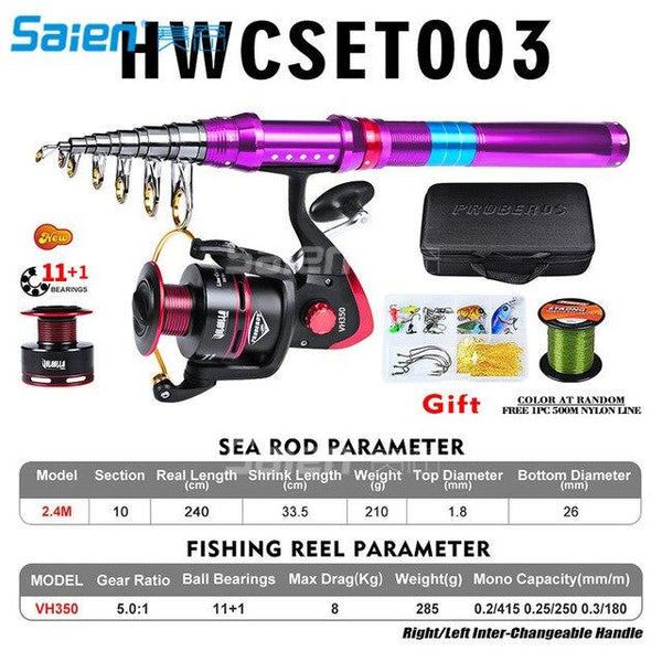 Portable Telescopic Fishing Rod and Reel Combos Carbon Fiber Fishing Pole with Full Kits Carrier Bag for Travel Saltwater Freshw - HuntPost Marketplace