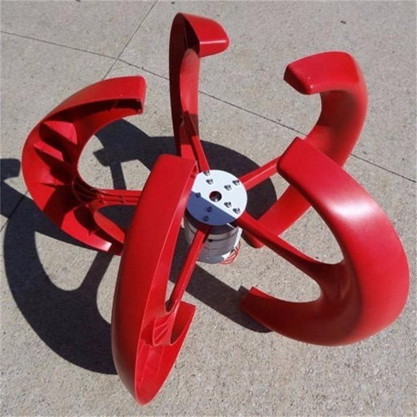 wind power generator vertical wind turbine 12v/24v option red white color solar combined windmill decorative generator - HuntPost Marketplace