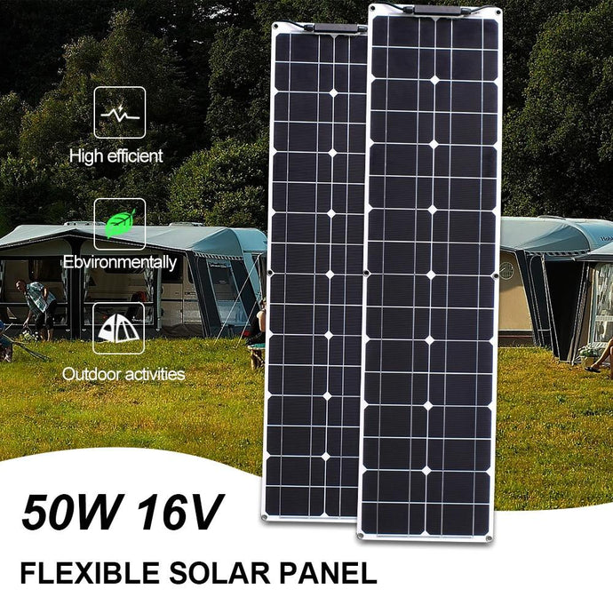 strip flexible solar panels 50w 2pcs 100w for home rv camper outdoor for 12v 24v battery home solar system kit - HuntPost Marketplace