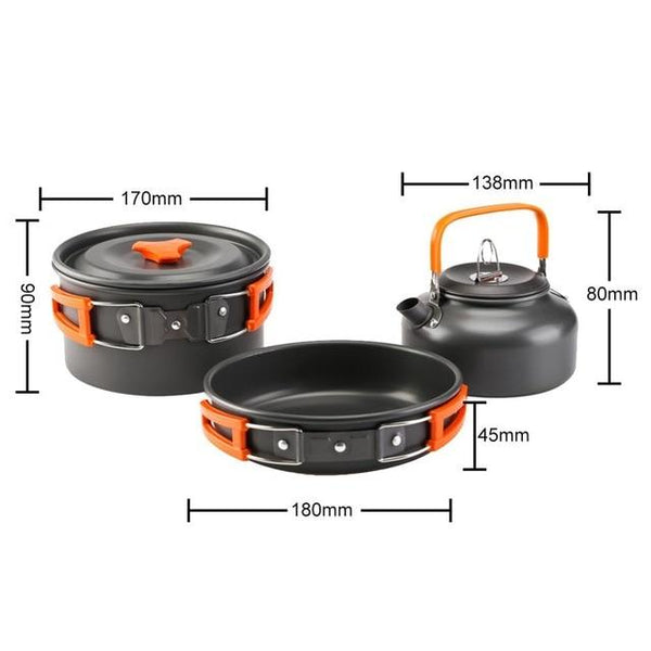 Portable Water Kettle Frying Pan Pot Travel Aluminum Outdoor Camping Cooking Cookware Utensils Hiking Picnic BBQ Tableware - HuntPost Marketplace