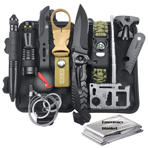 Hunting Emergency Survival Kit Fishing SOS,EDC Survival Gear Outdoor Camping Hiking First aid Kit with Knife Emergency Blanket